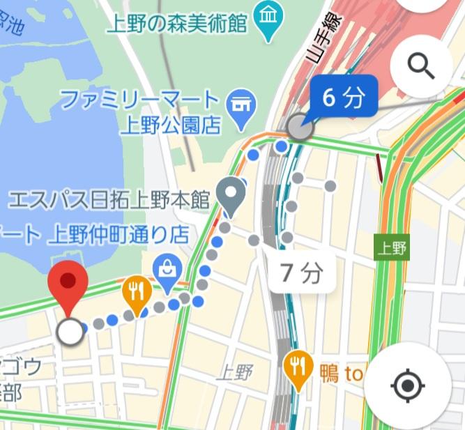 上野駅から、上野キャバクラ蓮への経路案内