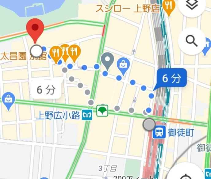 御徒町駅から、上野キャバクラ蓮への経路案内
